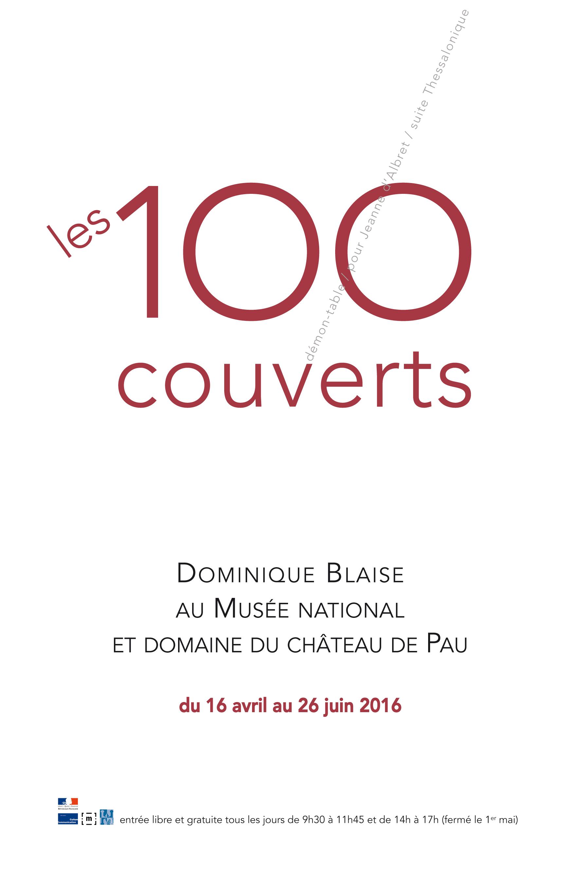 Affiche de l'exposition - titre les 100 couverts (en chiffres)