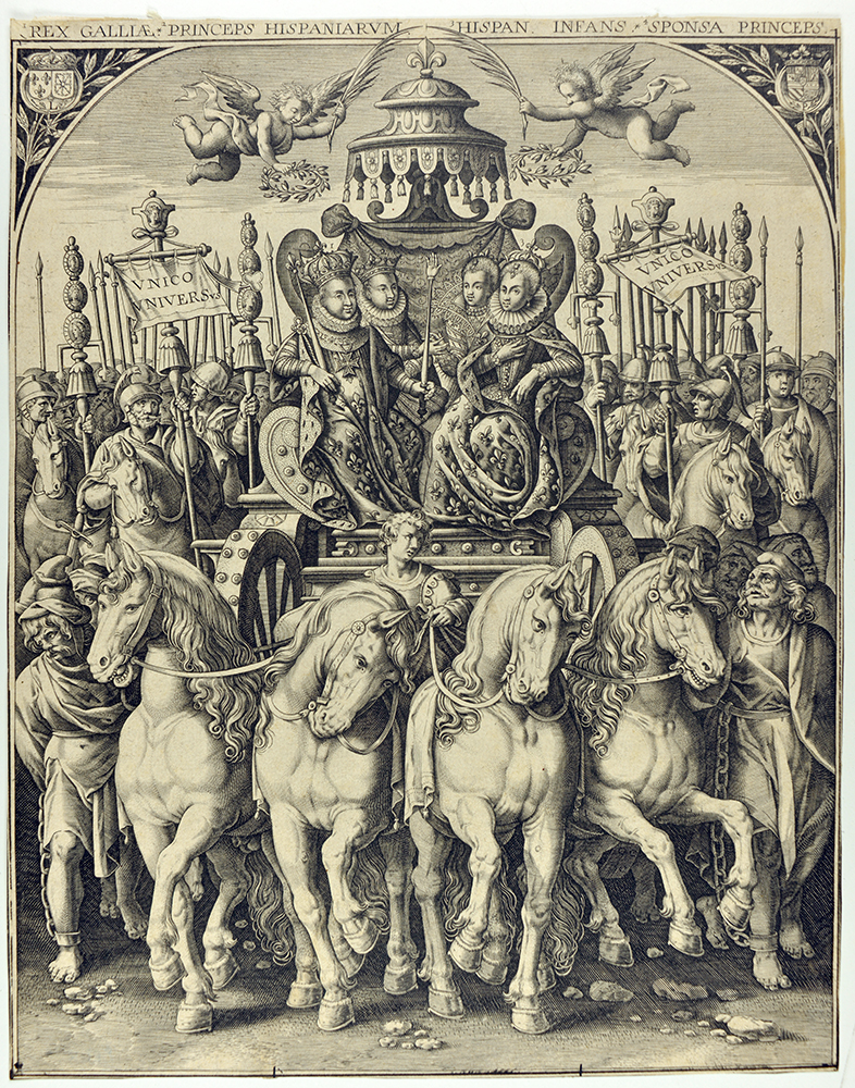 Char triomphal célébrant les mariages royaux de 1615 - Burin, 1615