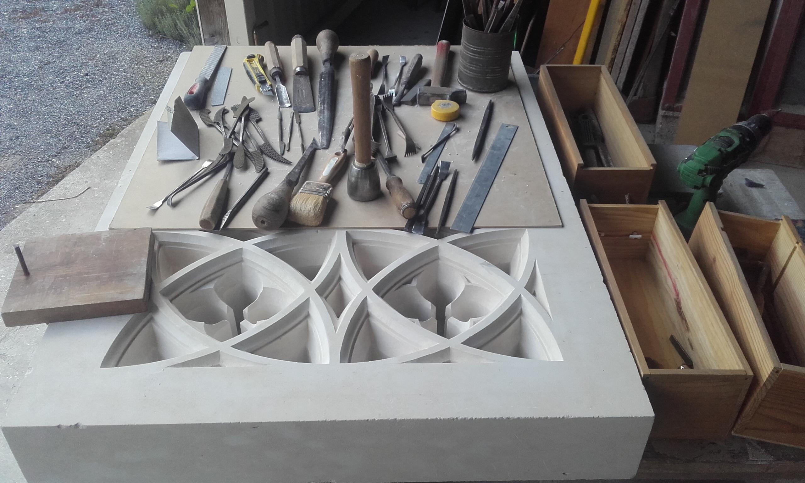 Etat d'avancement du travail de reproduction du tailleur de pierre