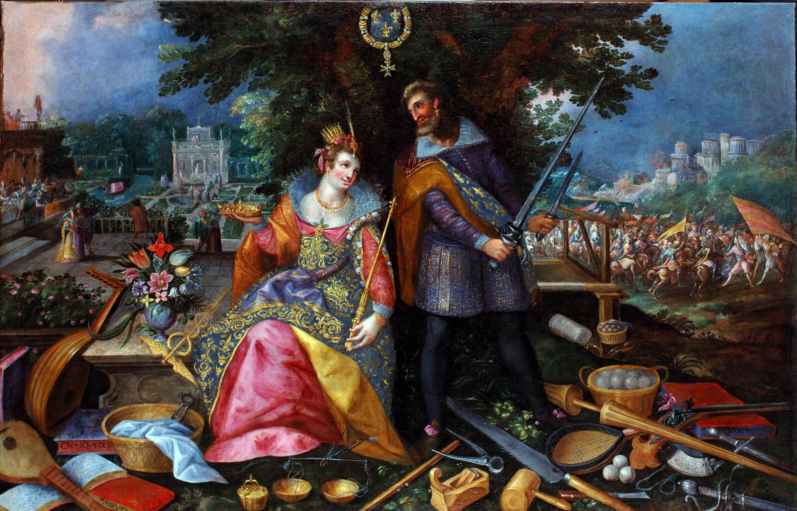 Allégorie de la France, huile sur toile anonyme (Allemagne du Sud ou Bohème), 1er tiers du XVIIe siècle