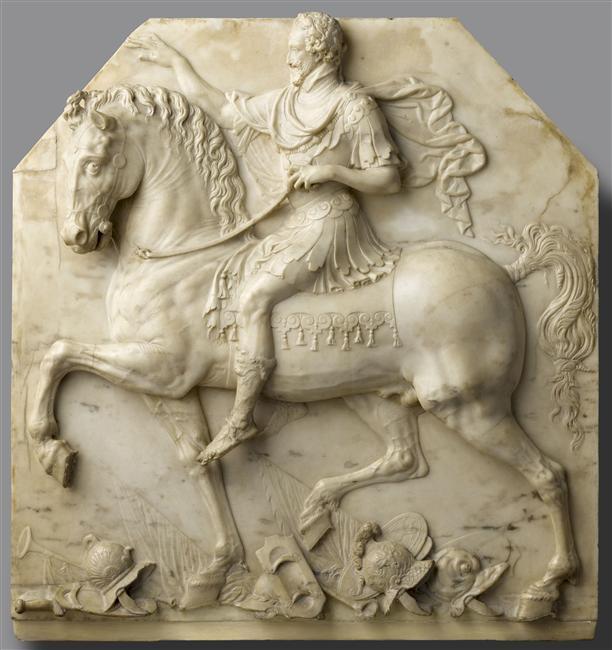 Bas-relief en marbre, Portrait équestre d'Henri IV en empereur romain (1er tiers du XVIIe s.)