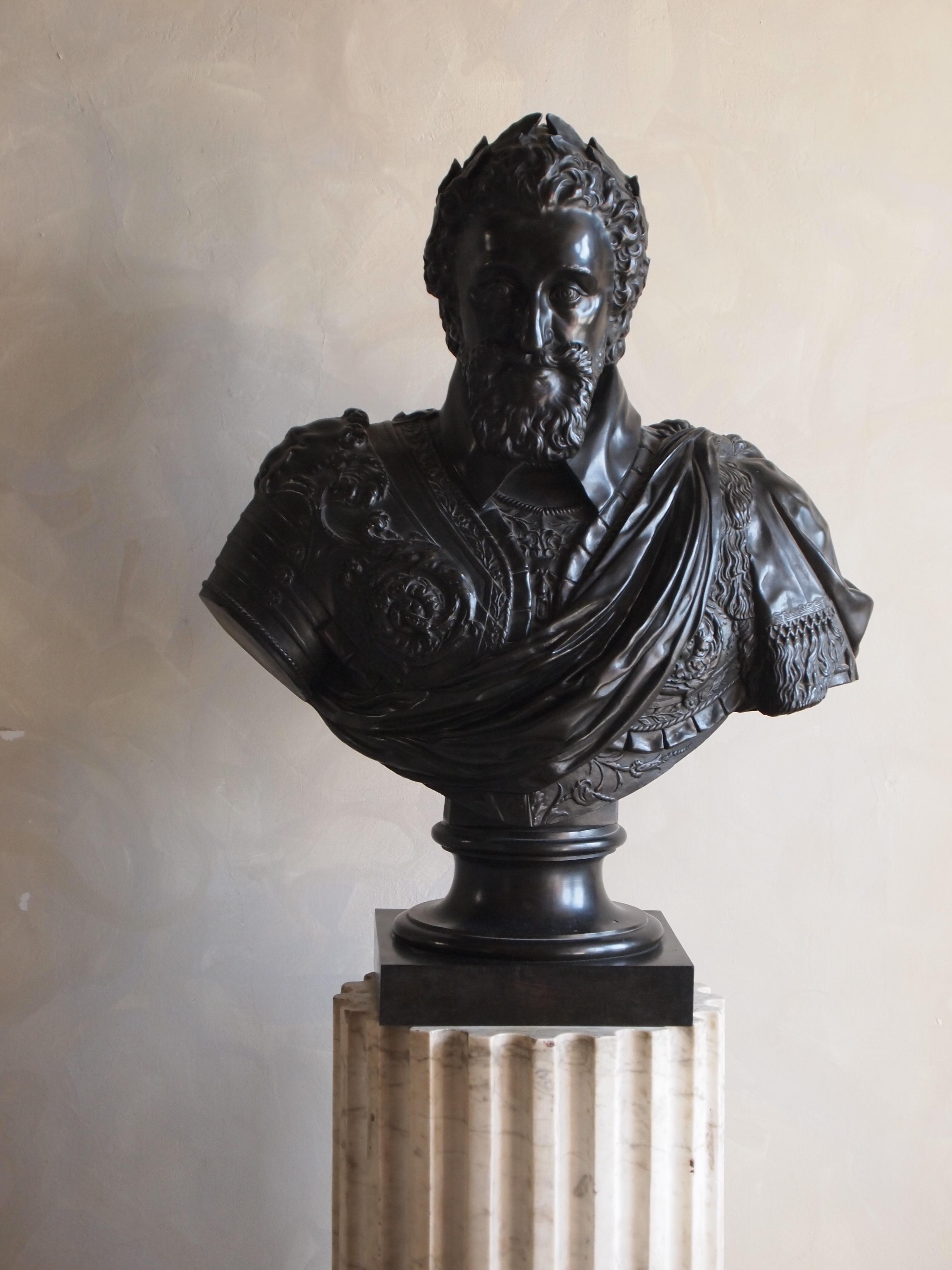 Buste en bronze d'Henri IV, fonte du XIXe siècle d'après Barthélemy Tremblay