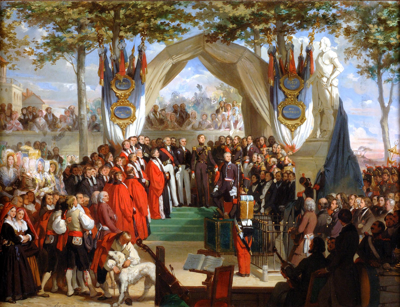 Inauguration de la statue d'Henri IV place royale à Pau par son fils le duc de Montpensier par Eugène Devéria (1805-1865)