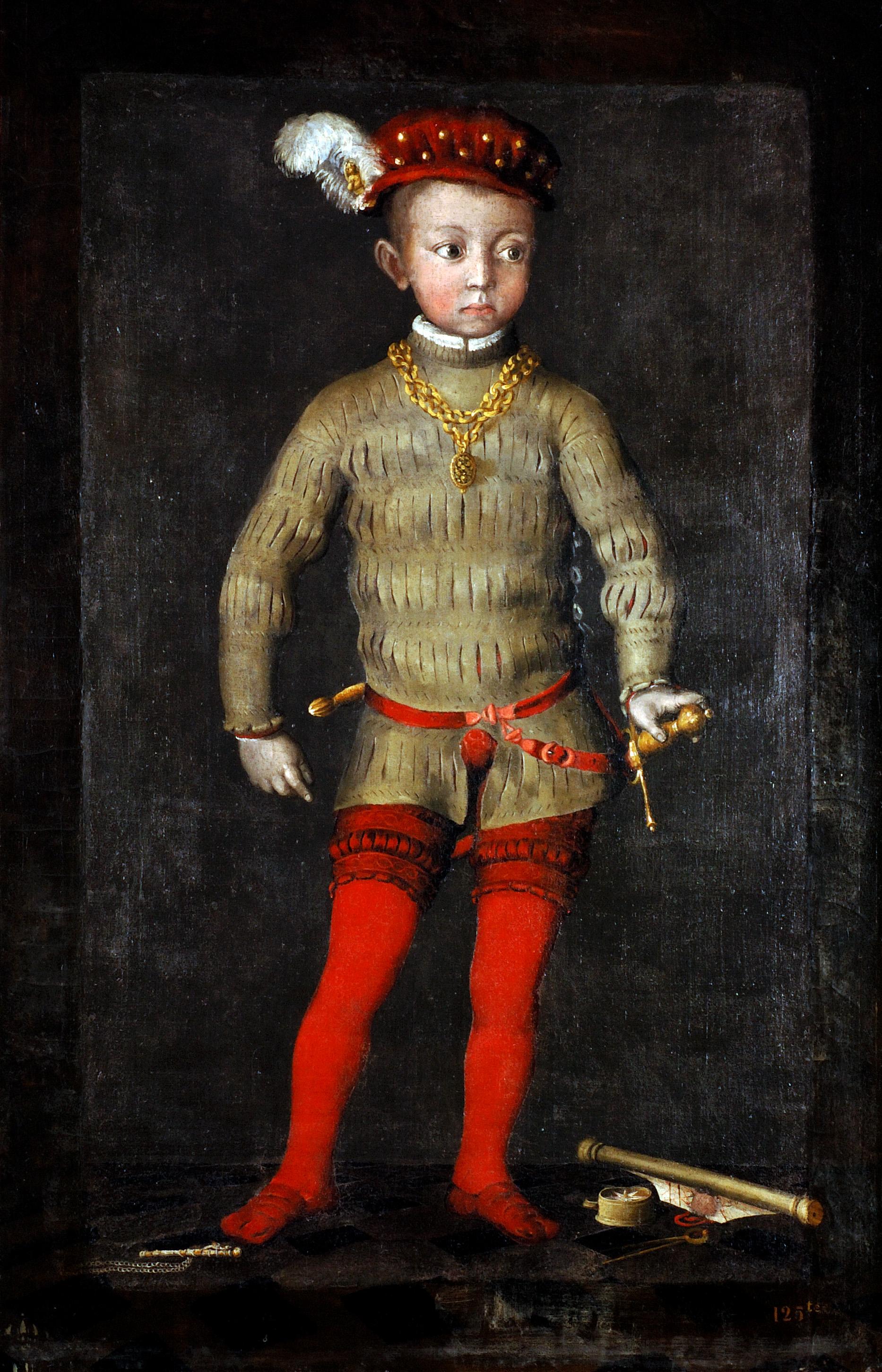 """Un portrait dit """"d'Henri IV enfant""""montre le jeune prince enfant somptueusement vêtu de rouge, portant épée et dague au côté et le cou ceint d'un lourd médaillon d'or"""