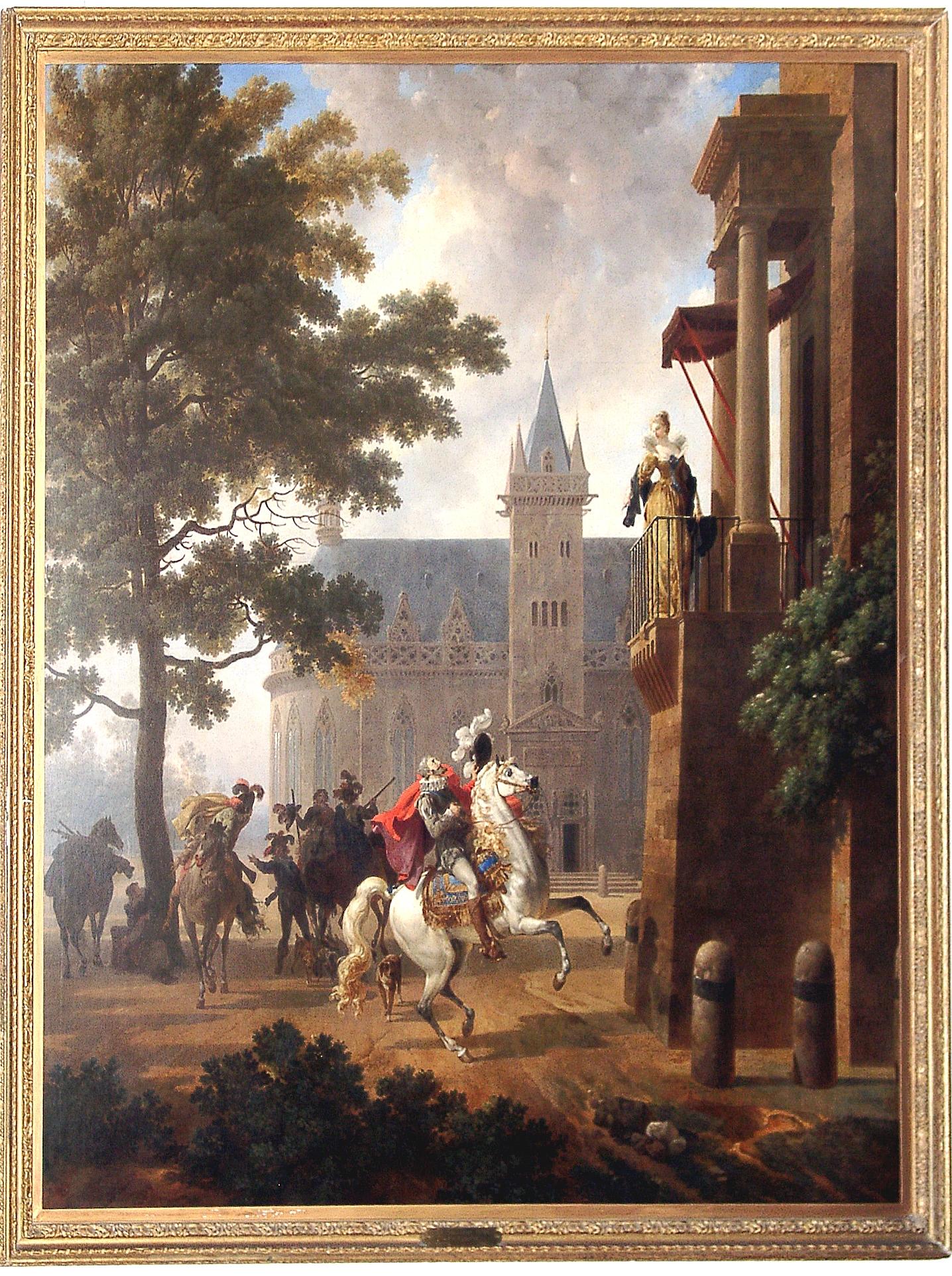 Nicolas-Antoine Taunay, Henri IV caracolant devant une dame à son balcon, huile sur toile, vers 1802