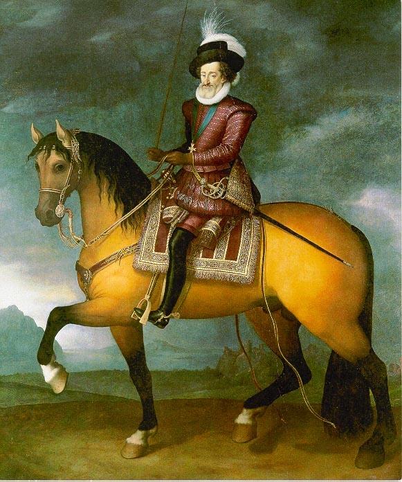 France, premier quart du xviie siècle, Henri IV à cheval, Huile sur toile, vers 1611