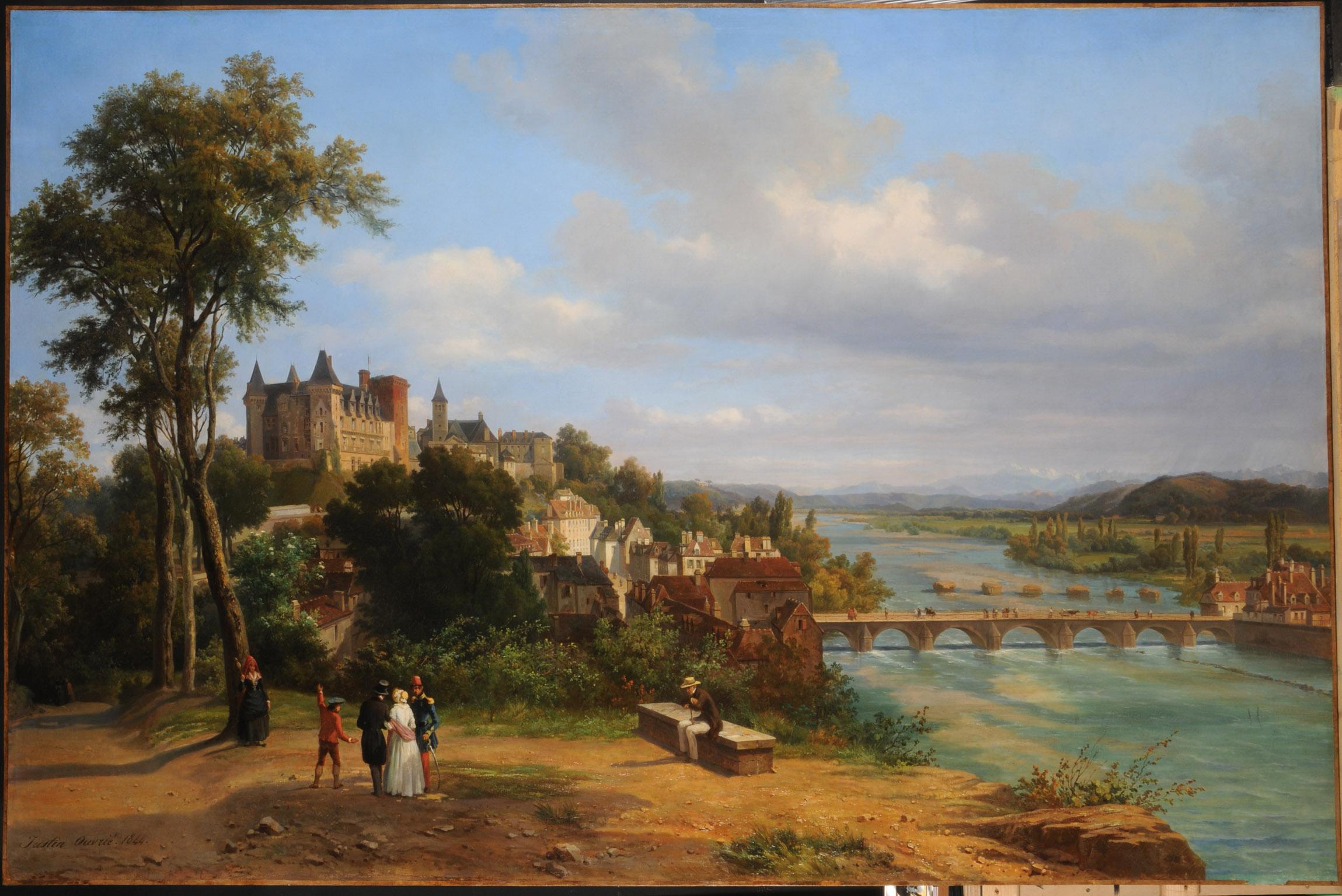 Vue d'ensemble du château - huile sur toile de Justin Ouvrié (1806-1879)
