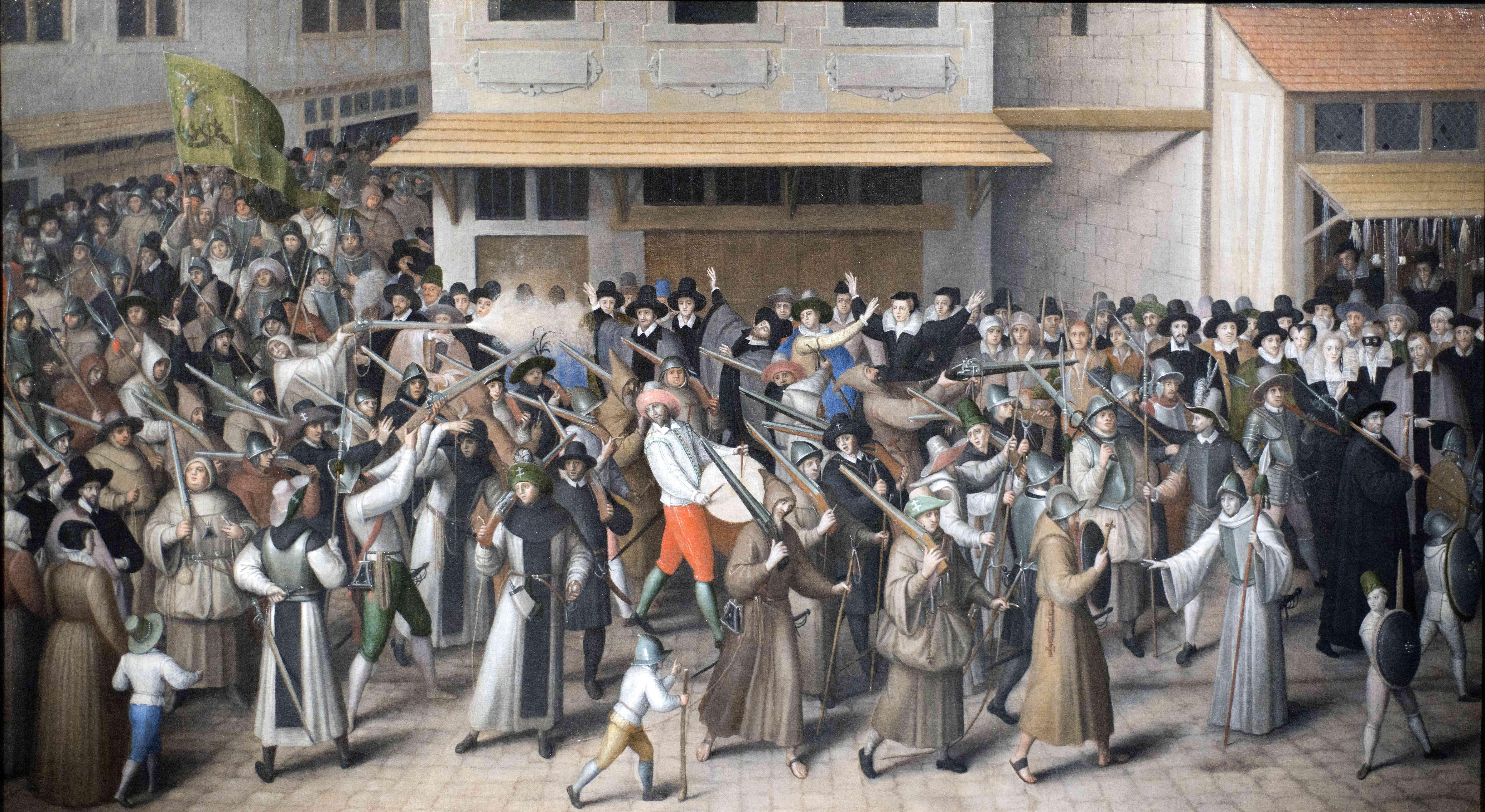 La procession de la ligue (huile sur toile, fin du XVIe siècle) par Guillaume Rose
