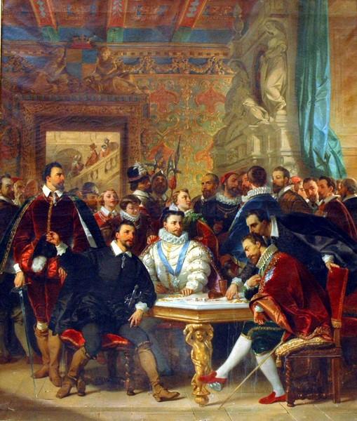 Les quatre henri dans la maison de Crillon à Avignon par Eugène Devéria (1805-1865)