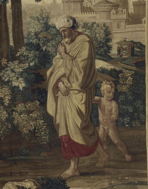 """""""Moïse exposé sur le Nil"""" d'après Poussin (1594-1665) - Tenture de l'Histoire de Moïse"""