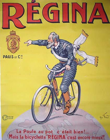 Affiche d'Henri IV sur une bicyclette Régina