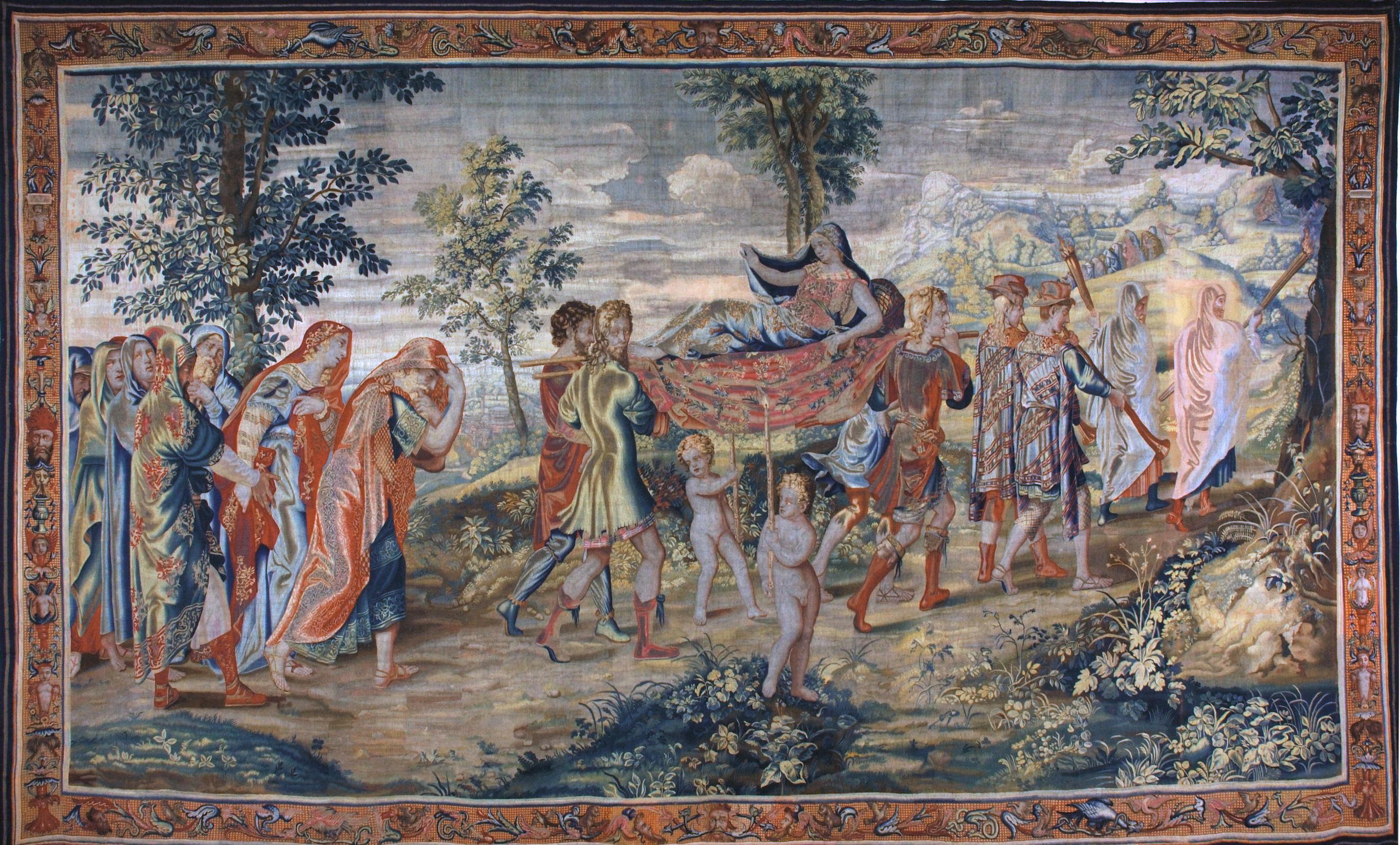 """""""Psyché portée sur la montagne"""", tapisserie de la tenture de l'Histoire de Psyché"""