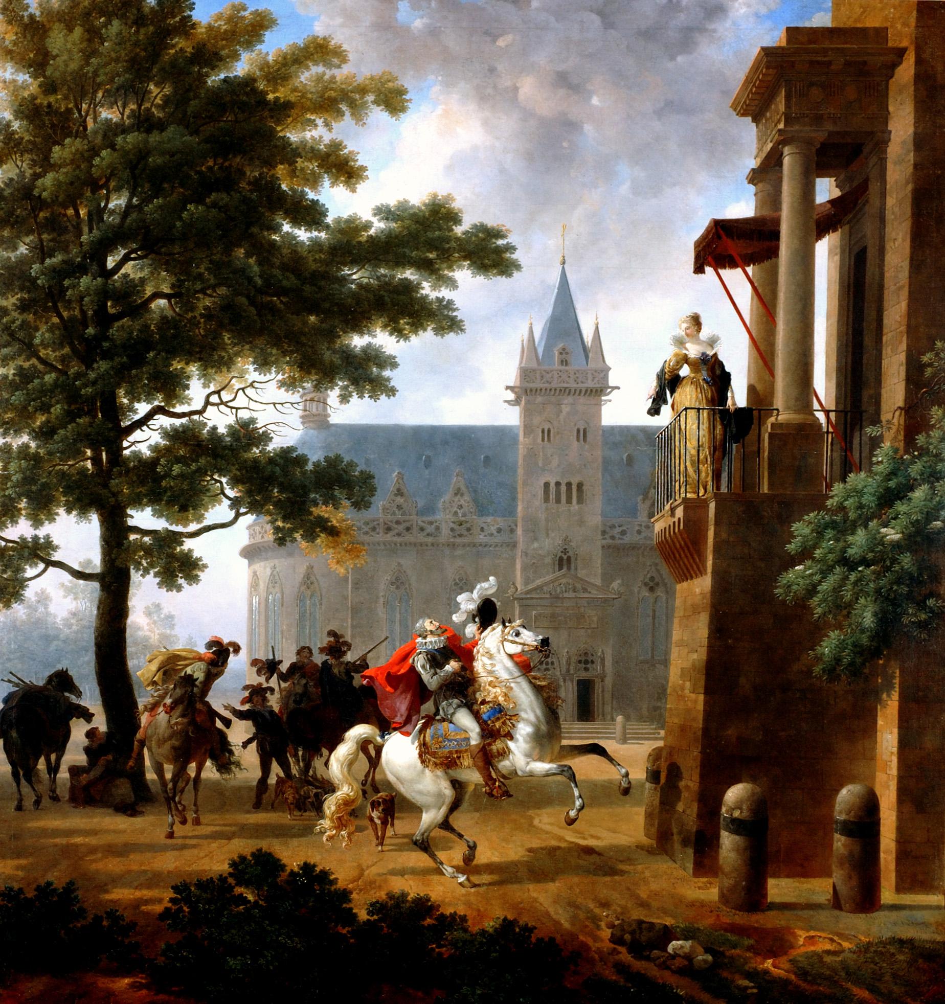 """""""Henri IV caracolant devant une dame à son balcon"""" par Nicolas Antoine Taunay (1755-1830)"""
