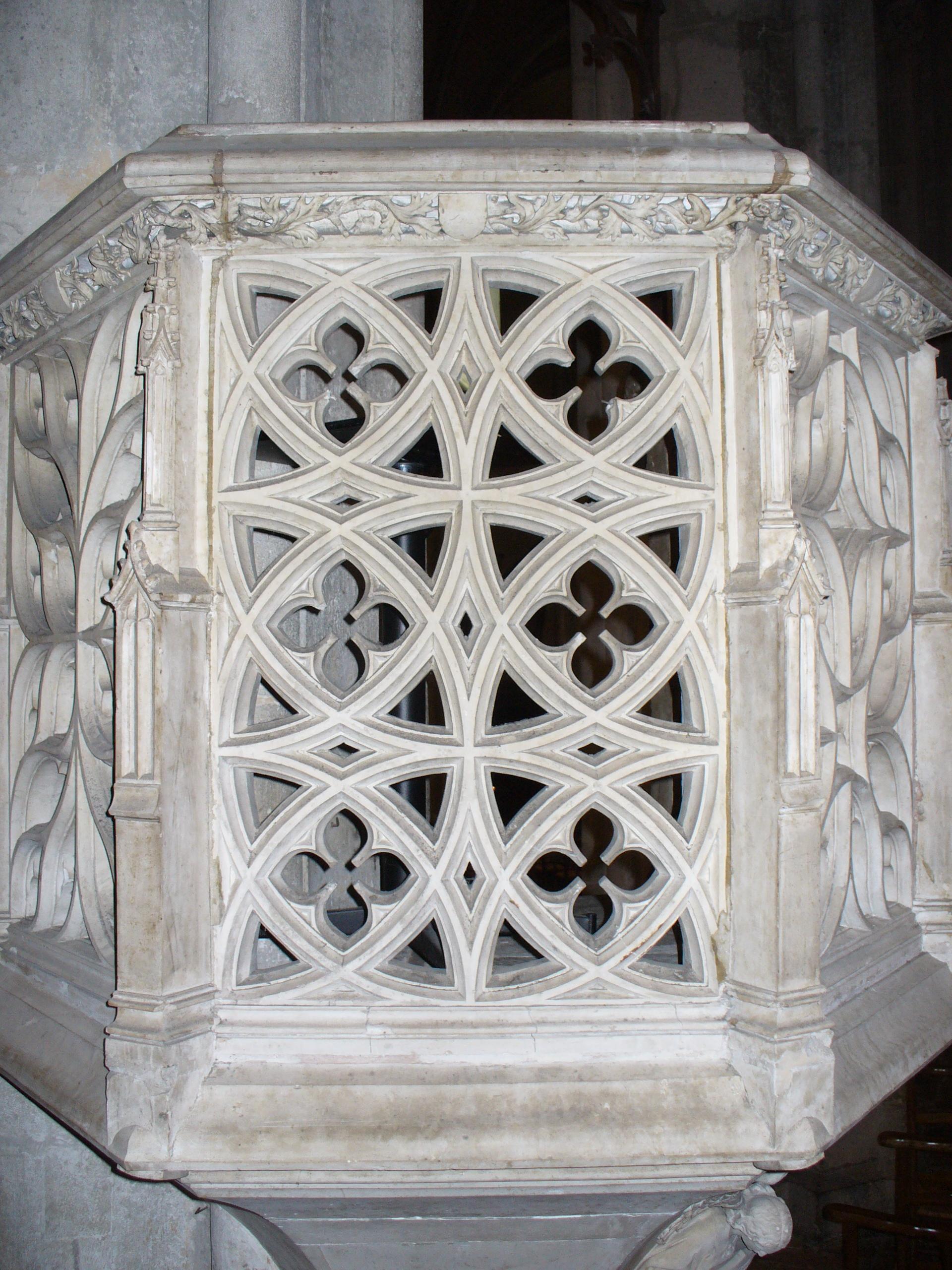 Panneau référence de la chaire à prêcher de la cathédrale de Besançon 1459